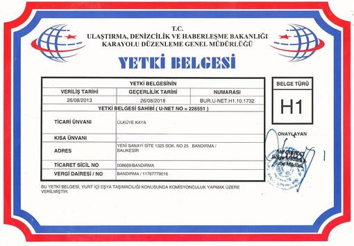 AmbarTÜRK Yurtiçi Taşımacılık ve Nakliye Komisyonculuğu; H1 Yetki Belgesi (Yurtiçi Eşya ve Yük Taşımacılığı Alanında Komisyonculuk yapacaklara verilir.)
